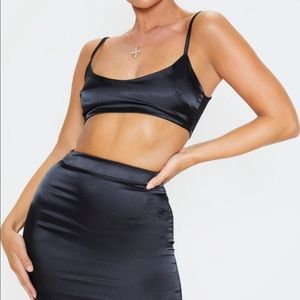 PrettyLittleThing Dresses - Black satin two piece
